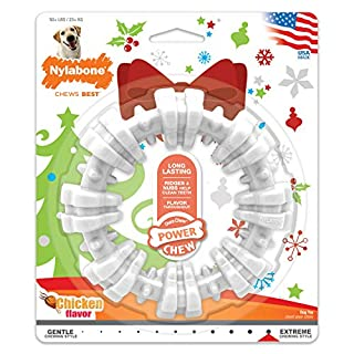 Nylabone Power Chew Holiday Textured Dog Chew Ring Chicken Flavor X-Large/Souper - 50+ lbs.