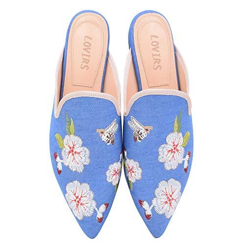 Lovirs Women's Denim Velvet Backless Slip On Loafers Flats Embroidery Mule Slippers Shoes 9 M US