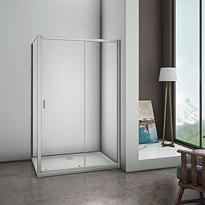 AICA Puerta corredera Cristal de Seguridad Protector de almacenaje de Ducha cubículo con 900 mm Panel Lateral y Bandeja, de Metal, Plateado Mate, 1000 x 1850 mm: Amazon.es: Hogar