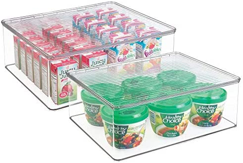 mDesign Plastic Stackable Kitchen Pantry Food Storage Container Clear