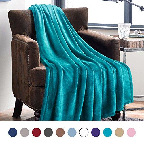 Bedsure Flannel Fleece Luxury Blanket Teal Throw Lightweight Cozy Plush Microfiber Solid (Peacock Throw)