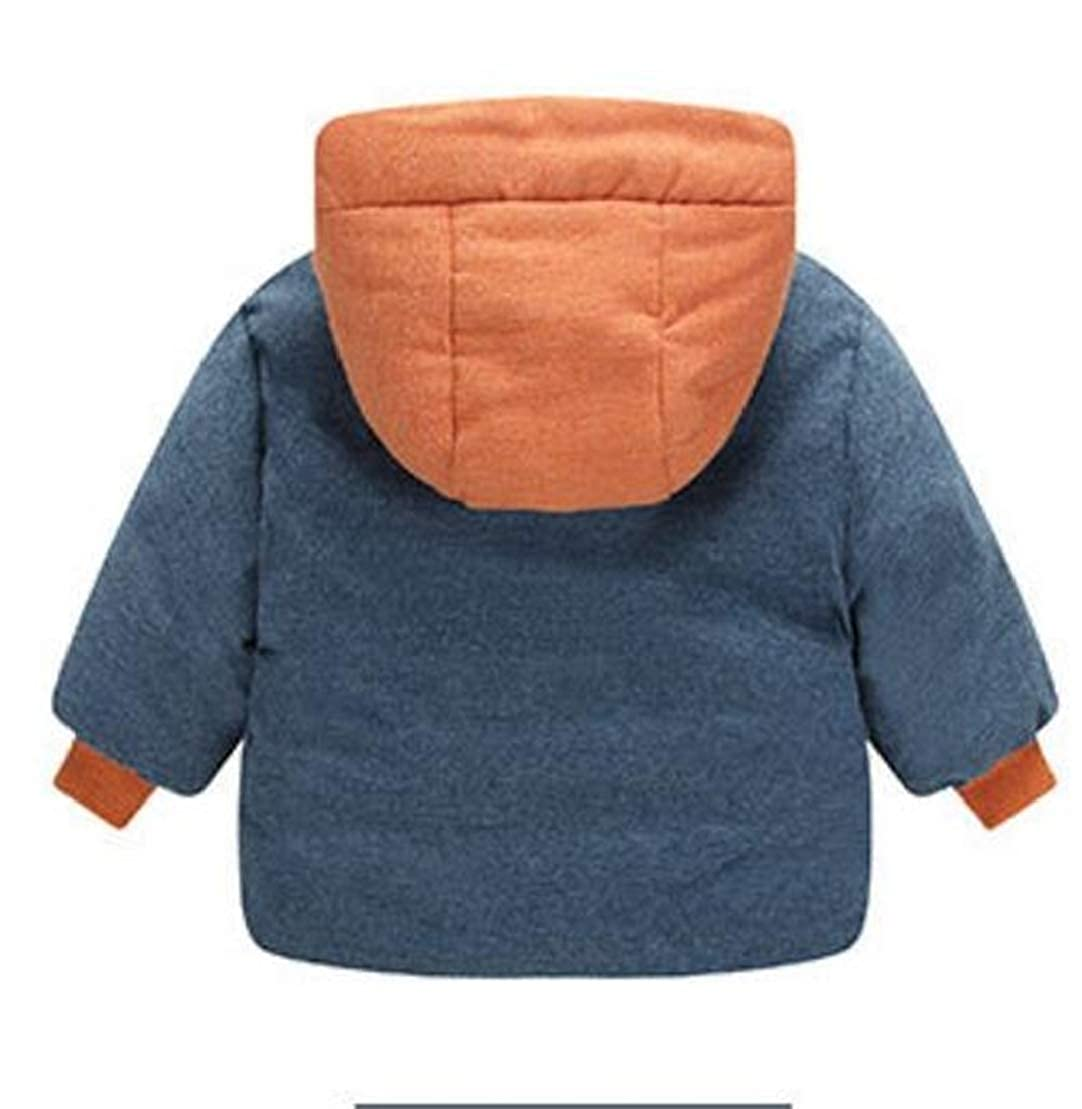 Wofupowga Girls Boys Winter Spell Color Hooded Cotton Padded Fashion Parkas Coats Jacket