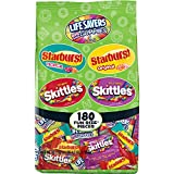 SKITTLES, STARBURST, and LIFE SAVERS Gummies Halloween Candy Bag, 180 Count, Fun Size, 68.7 ounce