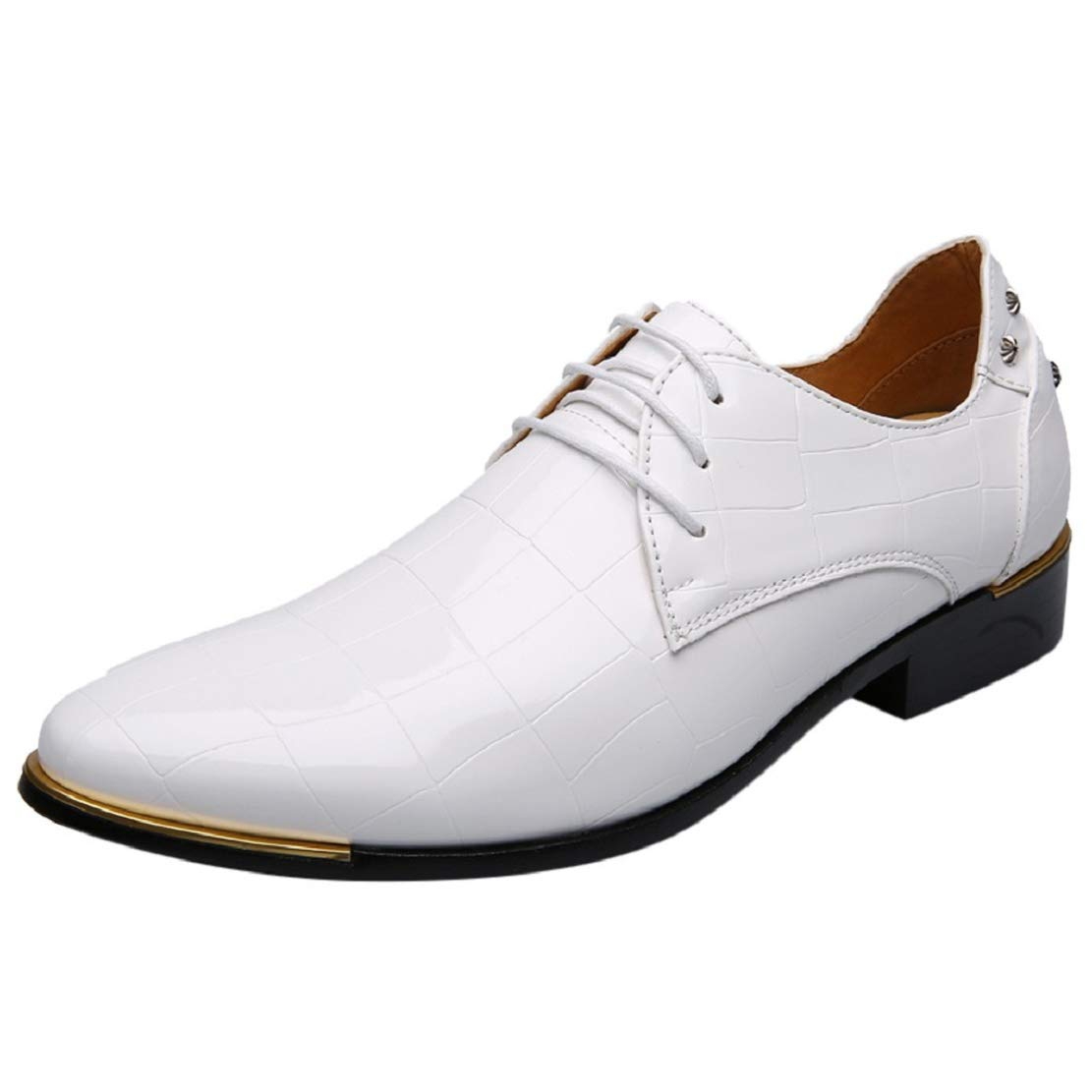 Men Patent Leather Lace up Wingtip Dress Shoes Pointed Toe Oxford Dress Tuxedo Shoes by Lowprofile White