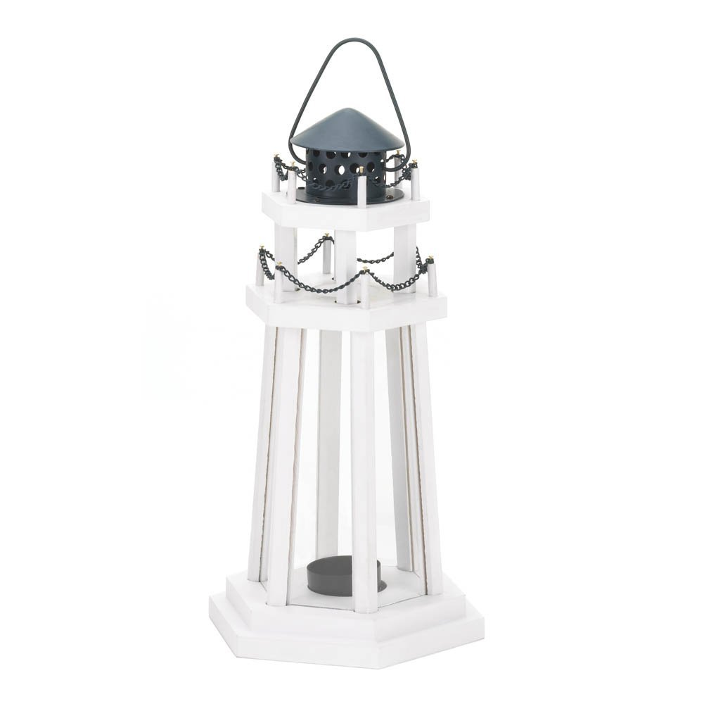 Gallery of Light 1 X Nautical Light Decorative Clear Glass Wooden Lighthouse Candle Lantern Lamp For Indoor Or Outdoor Lighting And Wedding Centerpieces & Decorations 6 5/8 X 5 3/4 X 12 1/4 High - 10015961