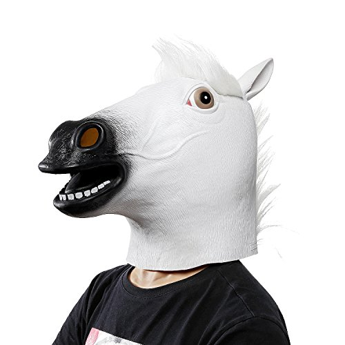 Ylovetoys Latex Horse Head Mask Halloween Costume Animal Masks (White)