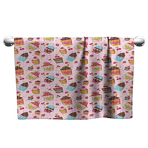 (DUCKIL Absorbent Towel Pink Decorations for Kitchen Cupcakes Muffins Strawberries and Cherries Print Bath Sheet 20 x 20 inch Light Pink and Brown)