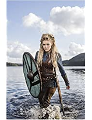 Vikings Katheryn Winnick as Lagertha Standing by Water Holding Shield Smiling 8 x 10 Photo