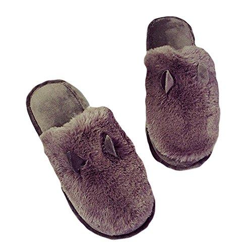 Cybling Winter Cute Fuzzy Slipper Antislip Comfortabele Huisschoenen Voor Dames Grijs