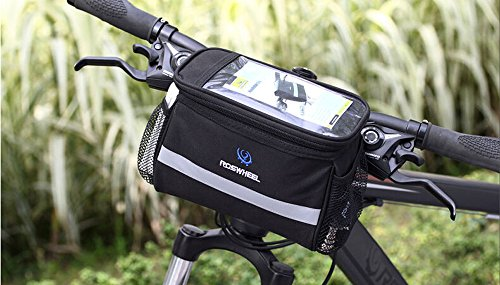 BicycleStoreBicycle Cycling Basket Handlebar Bag with Sliver Grey Reflective Stripe Outdoor Activity Bicycle Pack Accessories Black 3.5L