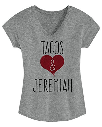 I Love Tacos & Jeremiah - Cute, Stylish Ladies' Triblend V-neck
