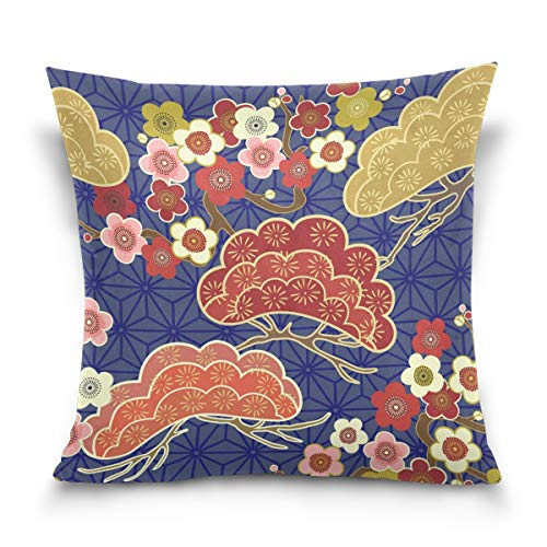 Hokkien Blue Viper Japanese Cherry Blossom Decorative Square Throw Pillow Case Cushion Cover for Sofa Bedroom Car Double-Sided Design 18 x 18 inch