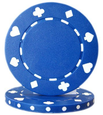 Brybelly Suited Poker Chips (50-Piece), Blue, -