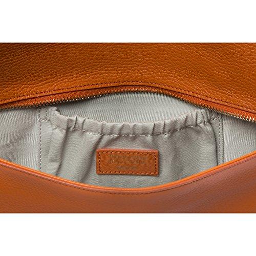 Trussardi Borsetta a Mano da Donna, Pochette con catena metallica per trasporto su spalla in vera pelle Saffiano 100% Vitello - 34x16x6 cm Arancione