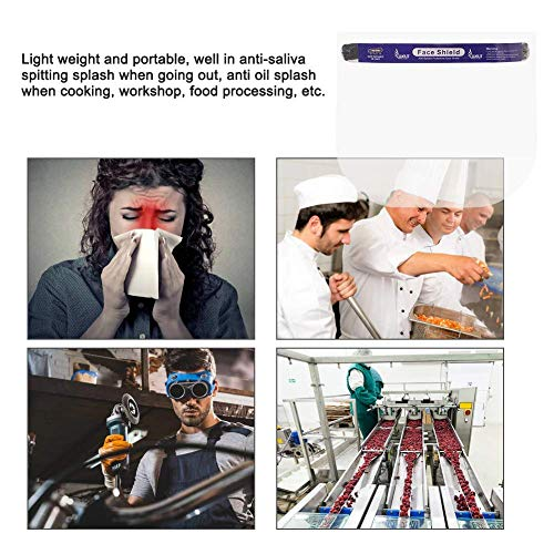 AllExtreme ORFSN01 350 Micron Disposable Face Shield with Adjustable Elastic Strap Anti-Splash Single Use Protective Facial Cover Transparent Full Face Visor with Eye & Head Protection (10 PCS)
