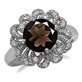 2.4ct. Smoky Quartz White Gold Plated 925 Sterling Silver Victorian Style Filigree Ring