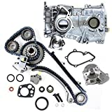 CNS TK1010WPOP Brand New Timing Chain Kit + Water Pump Set + Timing Cover with Oil Pump Set for 91-98 Nissan 240SX DOHC (16 Valve) KA24DE Engine