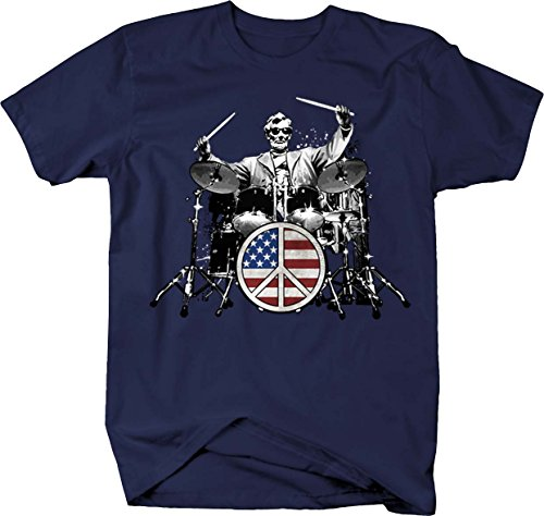 Abe Lincoln Drummer Peace Sign American Flag Rock Drum T shirt - 4XL