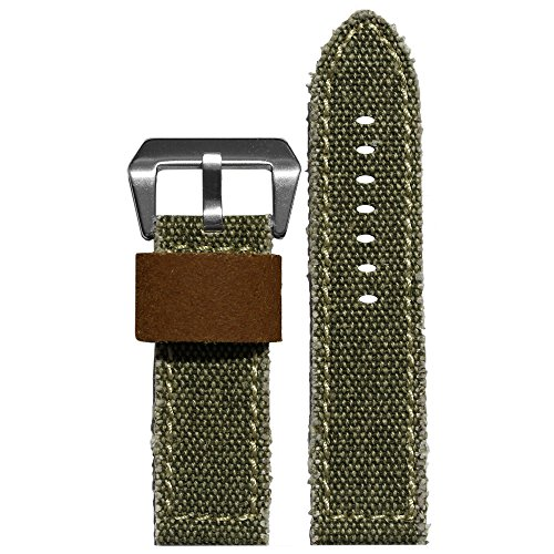 26mm Olive Vintage Canvas Watch Band with Genuine Leather Backing and Contrast Stitching (Olive Canvas Strap)