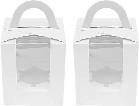 OTOTEC - Cajas para Pasteles con Ventana de PVC Transparente, 10 Unidades, para Guardar Magdalenas, Pasteles, cumpleaños, Bodas: Amazon.es: Hogar