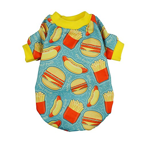 Fitwarm Hamburger Pet Clothes for Dog Shirts Cat Pullover T-Shirts Blue Large ()