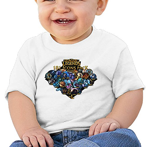 Price comparison product image Boss-Seller League Of Legends Short Sleeve T-srhits For 6-24 Months Infant Size 24 Months White