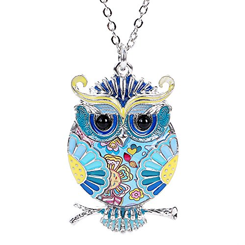 Marte&Joven Owl Necklaces & Pendants for Women Unique Jewelry can use as Keychain with Gift Box Package - Enameled Purse Pendant