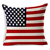18x18 Inch Cotton Linen Sofa Decorative Thick Throw Pillow Cover Washable Cushion Case USA Flag Pattern