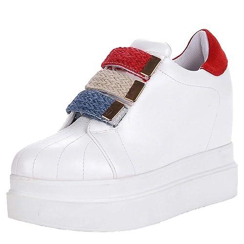 Lydee Mujer Moda Sneaker Cuñas Talones High Top Zapatillas Skate Antideslizante Casual Botas Plataforma High Heels Zapatos Otoño White Tamaño 43: Amazon.es: ...