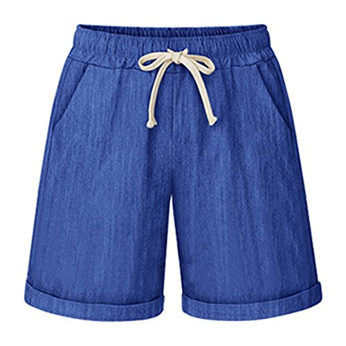 (Women's Drawstring Elastic Waist Casual Comfy Cotton Linen Knee Length Bermuda Shorts Plus Size Denim Blue Tag 8XL-US 24)