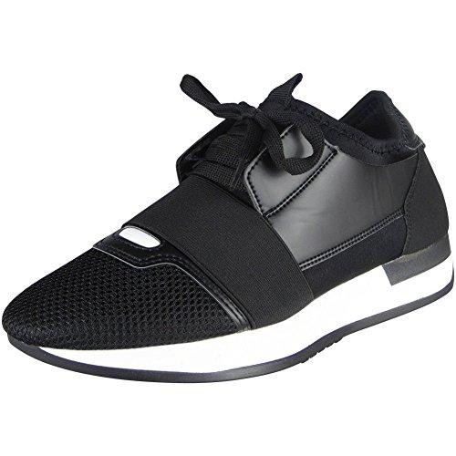 Femmes Fonctionnement Gym Des sports Dentelle En haut Chaussures Taille 36-41 NOIR/BLANC aVSdohTul4