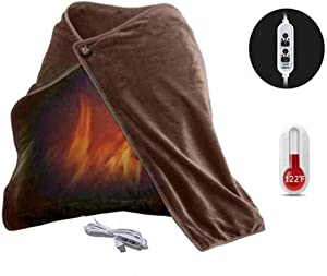 Z-YQL USB Heated Shawl Heated Blanket Plush Flannel Blanket with 3-Setting Heat Controller Cord for Car Office Home(100x65 cm) (Brown)