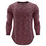 Ximandi Autumn Shirts Men's O Neck Casual Slim Long Sleeve Shirt Top Blouse