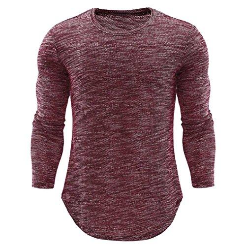 Ximandi Autumn Shirts Men's O Neck Casual Slim Long Sleeve Shirt Top Blouse by Ximandi