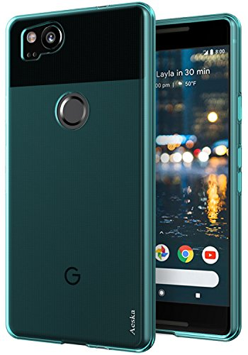 Rubber Gel Silicone Skin - Google Pixel 2 Case, Aeska Ultra [Slim Thin] Flexible TPU Gel Rubber Soft Skin Silicone Protective Case Cover for Google Pixel 2 (Mint)
