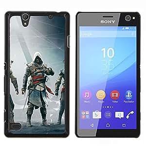 Qstar Arte & diseño plástico duro Fundas Cover Cubre Hard Case Cover para Sony Xperia C4 (Asesinos Bandera Negro)