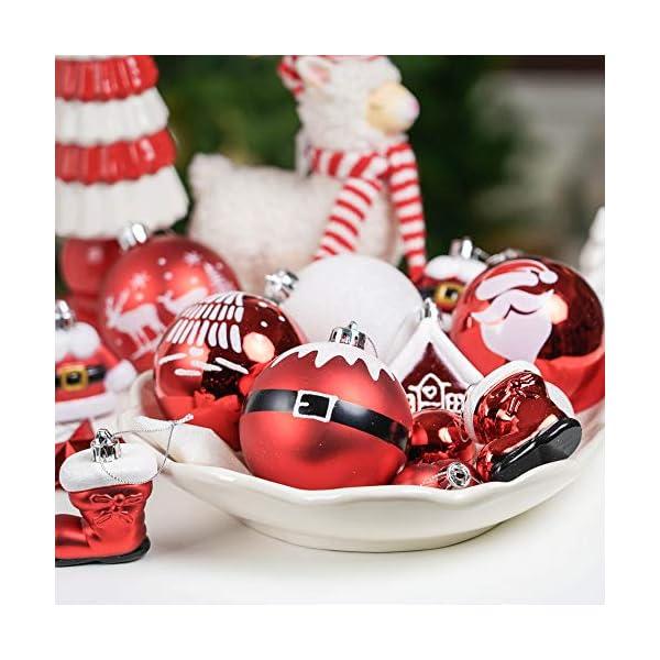 Valery Madelyn Palle di Natale 50 Pezzi di Palline di Natale, 3-5 cm Decorazione Tradizionale Rossa e Bianca Infrangibile con Palle di Natale per la Decorazione Dell'Albero di Natale 7 spesavip