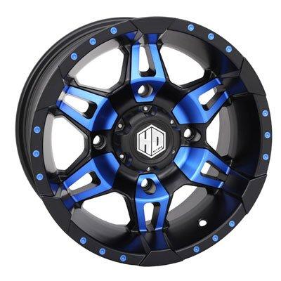 4/156 STI HD7 Alloy Wheel 14x7 4.0 + 3.0 Matte Black/Radiant Blue for Polaris RANGER 800 HD 2014 ()