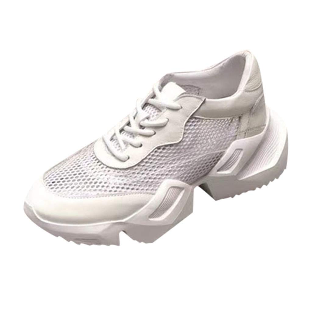 HENWERD Womens Sneakers Mesh Ultra Breathable Thick Bottom Athletic Running Sports Shoe (White,6 US)