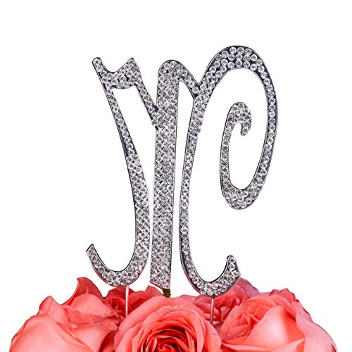 (Mikash Gift Box Pack Personalized Letter M Crystal Rhinestone Wedding Engagement Birthday Bridal Shower Metal Cake Tion Topper Silver (3-inch)     Model WDDNG - 1457)