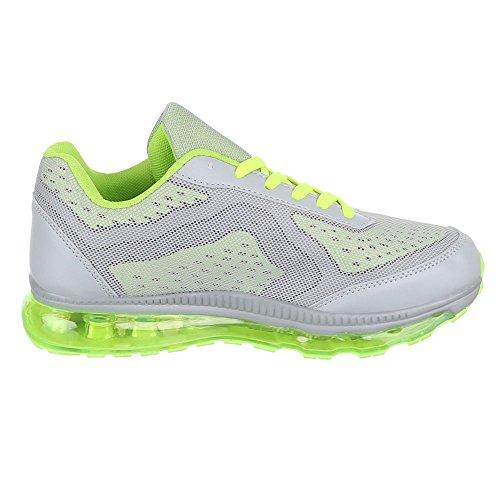 Ital-Design - Zapatillas de Material Sintético para hombre Verde - Grün Grau