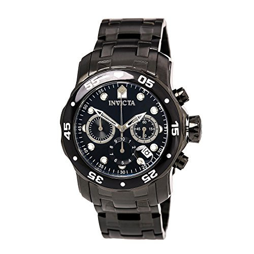Invicta Men's 0076 Pro Diver Collection Chronograph Black Ion-Plated Stainless Steel (Black Ion Stainless Steel Watch)