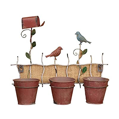 "Your Heart's Delight 14 x 12 x 12"" Iron Birds On a Fence Planter"