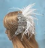 Bridal Feather Veil,Wedding Birdcage Veil, Crystal Veil