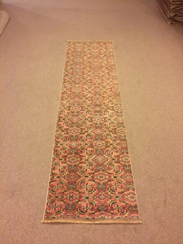 2.3x8.3 Feet Orange Colour Narrow Rug Runner Ethnic Rug Runner Vintage Aisle Rug Corridor Rug Hallway Carpet Kitchen Rug.Code:K657