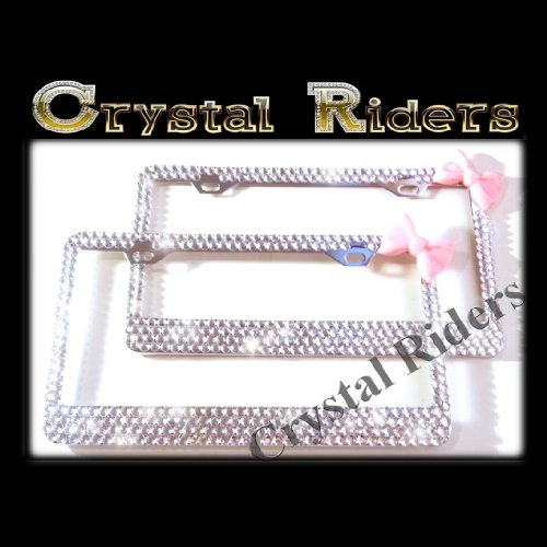 - PAIR OF 2 Bling License Plate Frame BABY PINK Bow with Crystals Clear Metal Chrome Zink Alloy Holder Sparkly Sparkle Custom Hand Made Hand Crafted 2 SET TWO hot pink