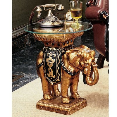 Design Toscano Maharajah Elephant Glass-Topped Sculptural Table