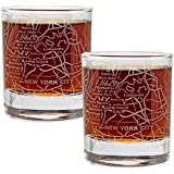 Etched Old Fashioned Whiskey Glasses - with Gift Box | 2 City Map Tumblers - New York, NY