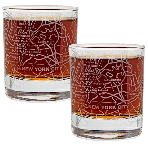 City Map Whiskey Old Fashioned Glasses - Set of 2 Etched Tumblers - New York, (2 Map Set)