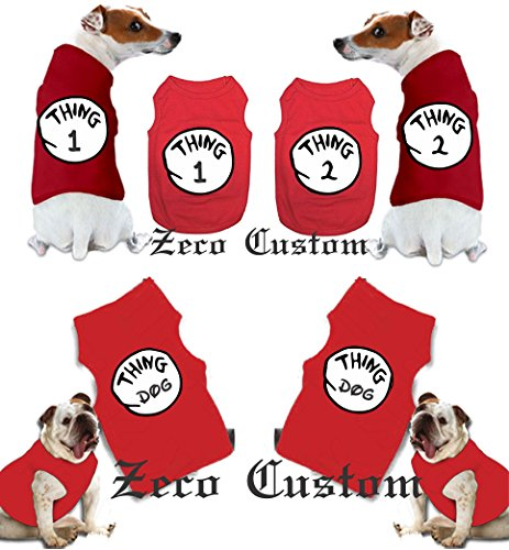 Thing 1 THING 2,3,4,5 T-shirts nice cute Dr Seuss new kids adults any number (Dog M (11-23 lbs), Dog Thing -